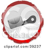 Clipart Illustration Of A Grungy Red White And Black Circular Comb Sign