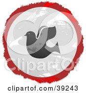 Grungy Red White And Black Circular Dove Sign
