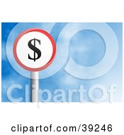 Clipart Illustration Of A Red And White Circular Dollar Sign Against A Blue Sky With Clouds