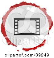 Clipart Illustration Of A Grungy Red White And Black Circular Film Sign