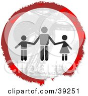Clipart Illustration Of A Grungy Red White And Black Circular Father And Children Sign