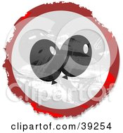 Clipart Illustration Of A Grungy Red White And Black Circular Party Balloon Sign by Prawny
