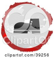 Clipart Illustration Of A Grungy Red White And Black Circular Boot Sign