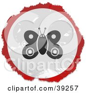 Clipart Illustration Of A Grungy Red White And Black Circular Butterfly Sign by Prawny