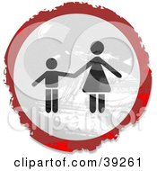Clipart Illustration Of A Grungy Red White And Black Circular Mother And Child Sign by Prawny