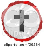 Clipart Illustration Of A Grungy Red White And Black Circular Silhouetted Cross Sign by Prawny
