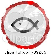 Poster, Art Print Of Grungy Red White And Black Circular Christian Fish Sign