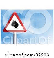 Clipart Illustration Of A Red And White Triangular Bacteria Sign Against A Blue Sky With Clouds by Prawny
