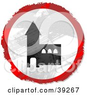 Clipart Illustration Of A Grungy Red White And Black Circular Church Sign
