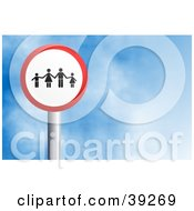 Clipart Illustration Of A Red And White Circular Family Sign Against A Blue Sky With Clouds