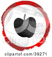 Clipart Illustration Of A Grungy Red White And Black Circular Apple Sign by Prawny