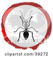 Clipart Illustration Of A Grungy Red White And Black Circular Ant Sign by Prawny