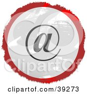 Clipart Illustration Of A Grungy Red White And Black Circular At Email Sign by Prawny