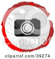 Clipart Illustration Of A Grungy Red White And Black Circular Camera Sign
