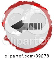 Clipart Illustration Of A Grungy Red White And Black Circular Arrow Sign by Prawny