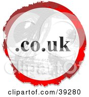 Clipart Illustration Of A Grungy Red White And Black Circular Co Dot UK Sign by Prawny