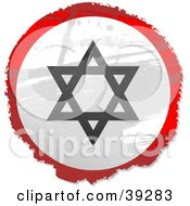 Clipart Illustration Of A Grungy Red White And Black Circular Star Of David Sign by Prawny