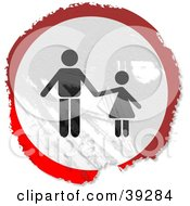 Clipart Illustration Of A Grungy Red White And Black Circular Father And Child Sign