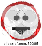 Clipart Illustration Of A Grungy Red White And Black Circular Bikini Sign by Prawny