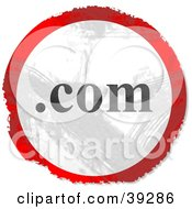 Clipart Illustration Of A Grungy Red White And Black Circular Dot Com Sign by Prawny