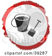 Clipart Illustration Of A Grungy Red White And Black Circular Beach Bucket Sign by Prawny