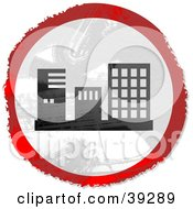 Clipart Illustration Of A Grungy Red White And Black Circular Building Sign