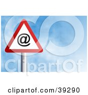 Clipart Illustration Of A Red And White Triangular At Sign Against A Blue Sky With Clouds by Prawny