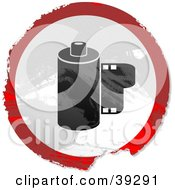 Clipart Illustration Of A Grungy Red White And Black Circular Film Canister Sign