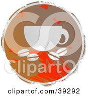 Clipart Illustration Of A Grungy Brown And Red Circular Java Sign