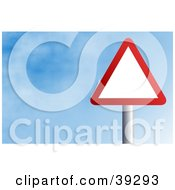 Clipart Illustration Of A Red And White Triangular Sign Against A Blue Sky With Clouds by Prawny