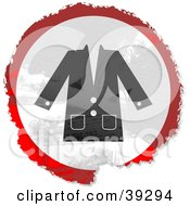 Clipart Illustration Of A Grungy Red White And Black Circular Coat Sign