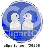 Clipart Illustration Of A Grungy Blue Circular Chatting Sign by Prawny