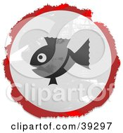 Poster, Art Print Of Grungy Red White And Black Circular Fishy Sign