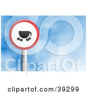 Clipart Illustration Of A Red And White Circular Coffee Sign Against A Blue Sky With Clouds by Prawny