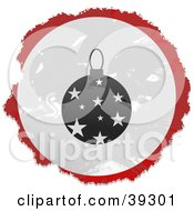 Grungy Red White And Black Circular Christmas Ornament Sign