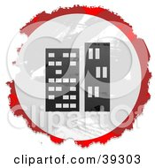 Clipart Illustration Of A Grungy Red White And Black Circular Skyscrapers Sign