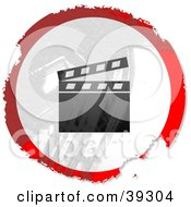 Clipart Illustration Of A Grungy Red White And Black Circular Clapper Board Sign