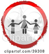 Clipart Illustration Of A Grungy Red White And Black Circular Mother And Children Sign by Prawny