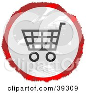 Clipart Illustration Of A Grungy Red White And Black Circular Shopping Cart Sign by Prawny