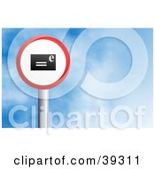 Clipart Illustration Of A Red And White Circular Email Sign Against A Blue Sky With Clouds by Prawny