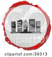 Clipart Illustration Of A Grungy Red White And Black Circular City Block Sign