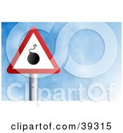 Clipart Illustration Of A Red And White Triangular Bomb Sign Against A Blue Sky With Clouds