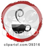 Grungy Red White And Black Circular Coffee Sign