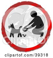 Clipart Illustration Of A Grungy Red White And Black Circular Pooper Scooper Sign