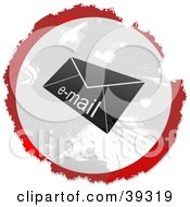 Clipart Illustration Of A Grungy Red White And Black Circular Email Envelope Sign