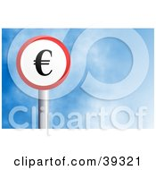 Clipart Illustration Of A Red And White Circular Euro Sign Against A Blue Sky With Clouds
