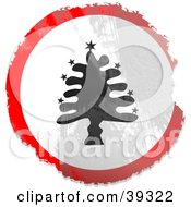 Clipart Illustration Of A Grungy Red White And Black Circular Christmas Tree Sign by Prawny