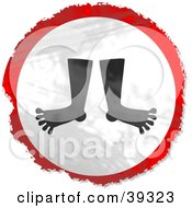 Clipart Illustration Of A Grungy Red White And Black Circular Feet Sign by Prawny