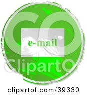 Clipart Illustration Of A Grungy Green Circular Email Sign by Prawny