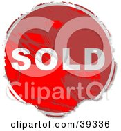 Clipart Illustration Of A Grungy Red Circular Sold Sign by Prawny